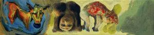 FRIES VON TREMALO II - I, Fotodruck und Acryl auf Nessel und Holz, 21 x 90 cm, 1996