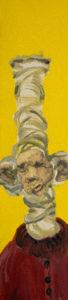 KOPFLASTIG XI, Fotodruck und Acryl auf Nessel und Holz, 90 x 21 cm, 1998