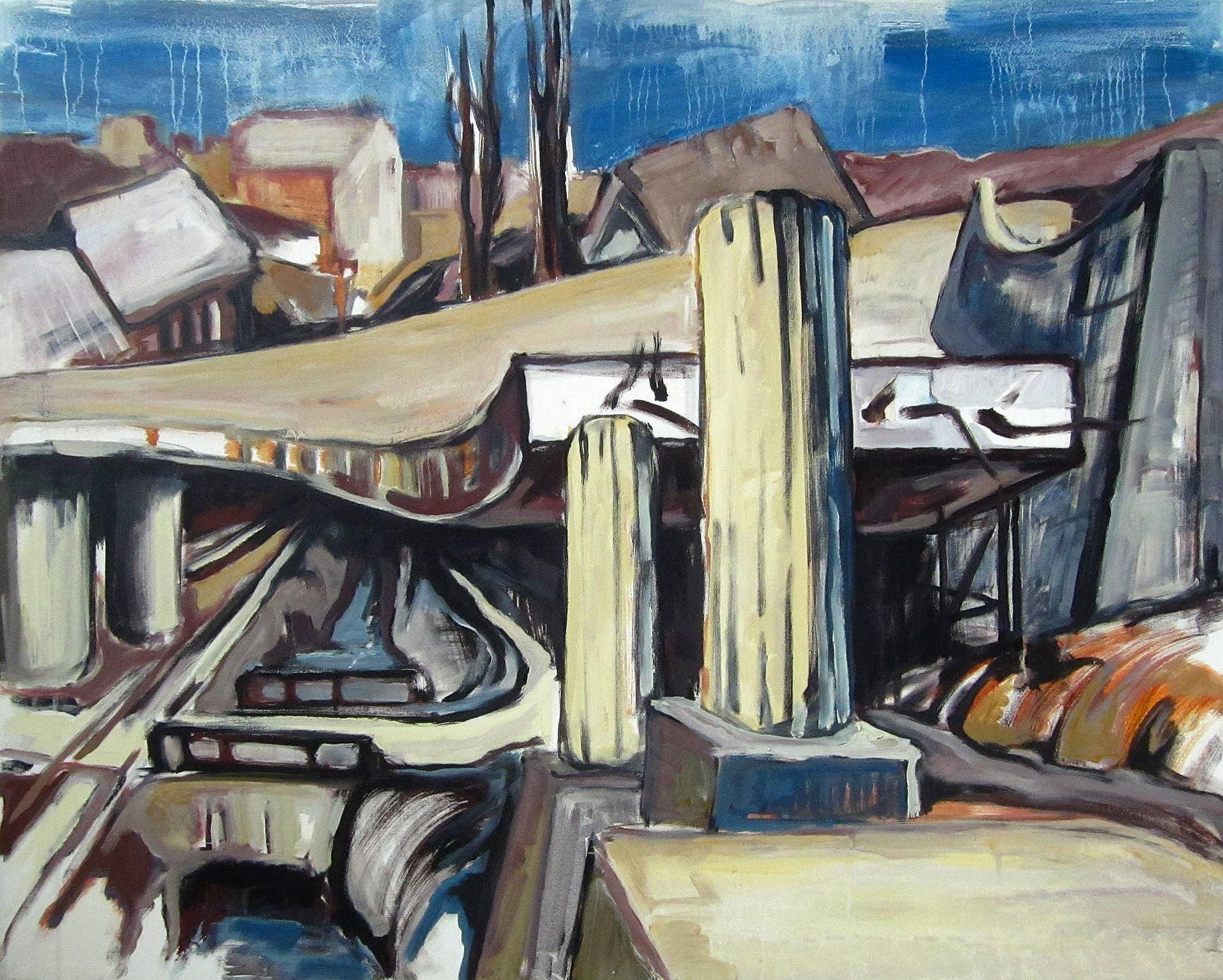 BRÜCKENKONSTRUKTION I, Acryl auf Nessel, 80 x 100 cm, 1978