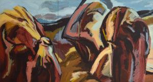 DREISTEIN II, Acryl auf Nessel, 130 x 240 cm (2-teilig), 1991