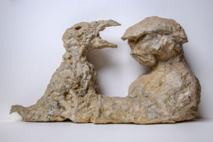 NACHTVOGEL, papier maché, 31 cm breit, 1994