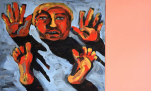 AUF TOTEM MEER, Acryl auf Leinwand, 90 x 100 cm (ohne Farbtafel), 1995