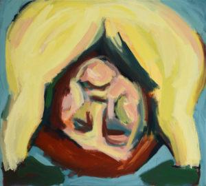 KOPF UNTER III, Acryl auf Nessel, 90 x 100 cm, 1992