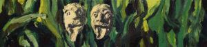 FRIES VON TREMALO II - V, Fotodruck und Acryl auf Nessel und Holz, 21 x 90 cm, 1996