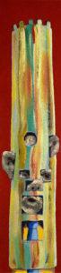 KOPFLASTIG XVIII, Fotodruck und Acryl auf Nessel und Holz, 90 x 21 cm, 1999