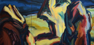 DREISTEIN III, Acryl auf Nessel, 100 x 210 cm, 3-teilig, 1992