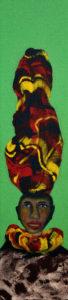 KOPFLASTIG XII, Fotodruck und Acryl auf Nessel und Holz, 90 x 21 cm, 1999