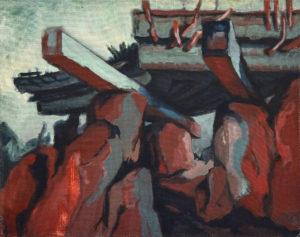 PIERRE BETON I, Eitempera auf Jute, 80 x 100 cm, 1979