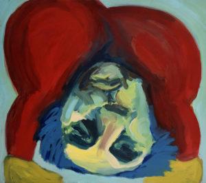 KOPF UNTER X, Acryl auf Nessel, 90 x 100 cm, 1993