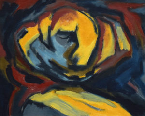 GOLEM VI, Acryl auf Nessel, 40 x 50 cm, 1988