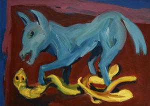 SCHLANGENWOLF, Acryl auf Leinwand, 90 x 125 cm, 1994