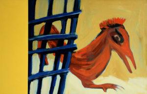 VOGEL FREI, Acryl auf Leinwand, 90 x 115 cm (ohne Farbtafel), 1994