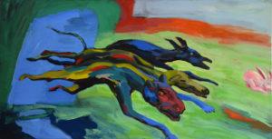 HATZ II, Acryl auf Leinwand, 100 x 190 cm, 1997