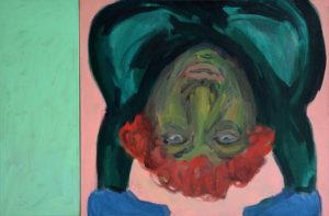 KOPF UNTER I, Acryl auf Leinwand, 90 x 100 cm (ohne Farbtafel), 1993
