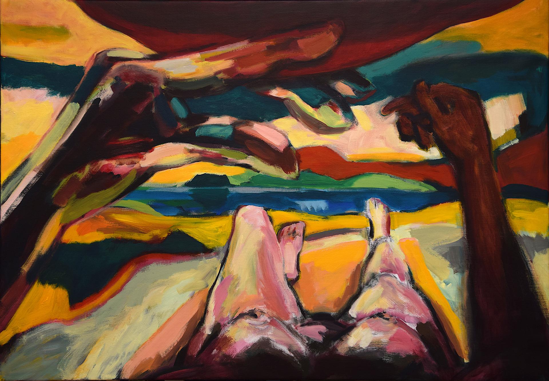 VON AUSSEN II, Acryl auf Leinwand, 90 x 130 cm, 2021