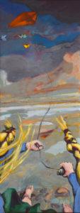 VON AUSSEN IV, Acryl auf Leinwand, 150 x 58 cm, 2021